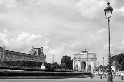 Photograph - View From The Louvre In Black And White by Angela Rath