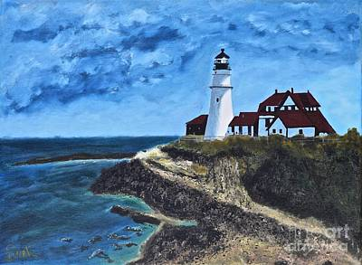 View From The North Portland Head Light Art Print