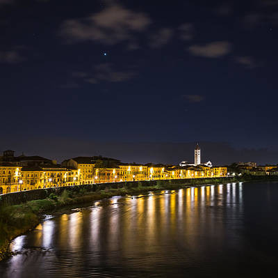 View From The Ponte Pietra Verona Italy At Blue Hour Art Print by Travel Quest Photography