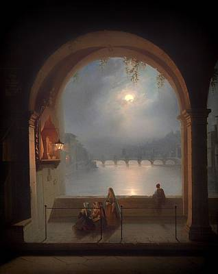 Lamplight Painting - View From The Ponte Vecchio N Florence Over The Arno by Mountain Dreams