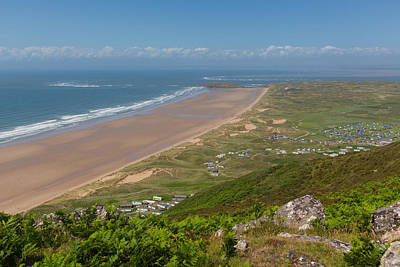 The Gower Photograph - View From The Top Of Rhossili Down To Burry Holms And Hillend The Gower Peninsula Wales Uk In Summer by Michael Charles