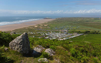 The Gower Photograph - View From The Top Of Rhossili Down To Burry Holms And Hillend The Gower Peninsula Wales Uk by Michael Charles