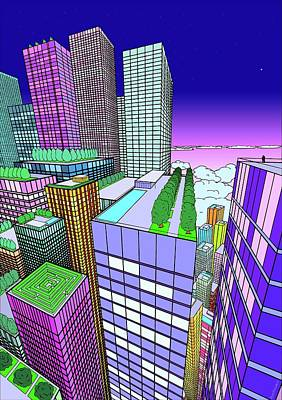 Futurism Architecture Wall Art - Digital Art - View From The Window by Mikhail Buzhinskiy