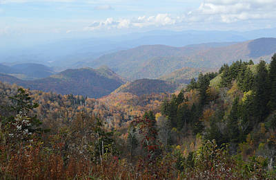 Photograph - View From Waterrock Knob Towards The Great Smoky Mountains by rd Erickson