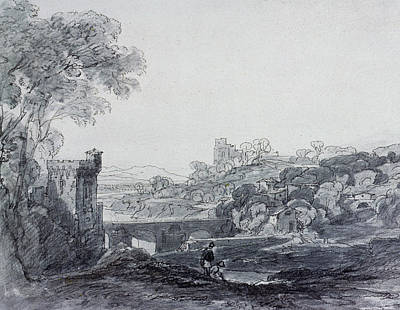 Bucolic Scenes Drawing - View In Italy by Sir Augustus Wall Callcott