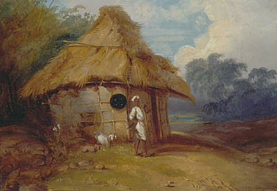 Southern Art Painting - View In Southern India, With A Warrior Outside His Hut by George Chinnery