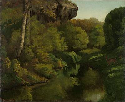 Gustave Courbet Painting - View In The Forest Of Fontainebleau by Celestial Images