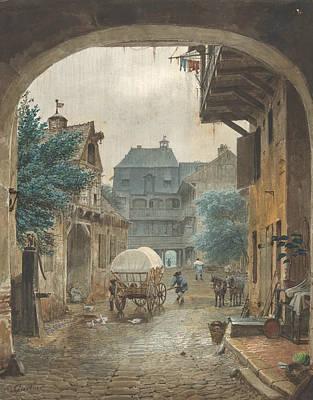 Colmar Wall Art - Drawing - View Into The Courtyard Of An Inn At Colmar by Eduard Gaertner