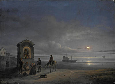 View Of A Beach With The Rising Moon Art Print by Giuseppe Canella