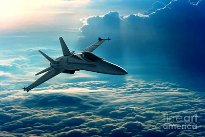 View Of A Fighter Jet Above The Clouds Art Print by Caio Caldas