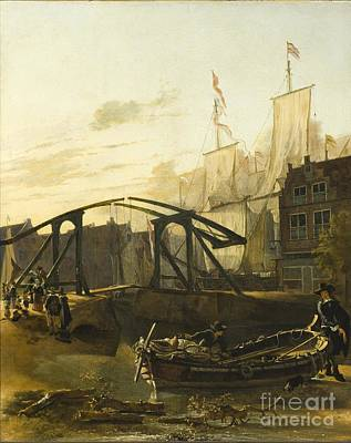 Harbor Drawing - View Of A Harbor In Schiedam by Celestial Images