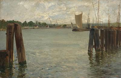 North Sea Painting - View Of A Harbour On The North Sea by Celestial Images