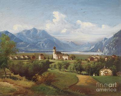 Bohemia Painting - View Of A Lakeland Landscape by Celestial Images