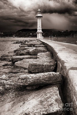 Lake Leman Photograph - View Of A Lighthouse At The End Of A Jetty by George Oze