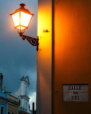 View Of A Lit Old Street Lamp Calle Del Sol Puerto Rico Art Print by George Oze
