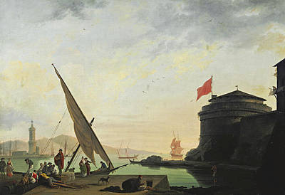 Painting - View Of A Mediterranean Harbor With Fishermen by Thomas Patch