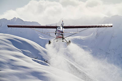 Winter Scenery Photograph - View Of A Super Cub Air Taxi At Tanaina by Joe Stock