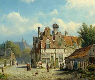 Woman Praying Painting - View Of A Town by Willem