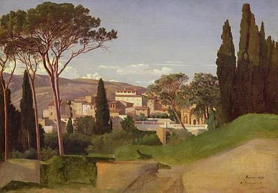 Surrounding Painting - View Of A Villa by Jean Achille Benouville