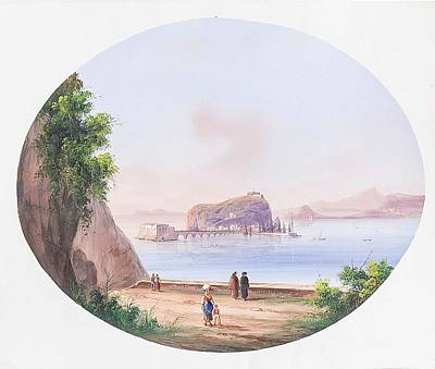 An Island Painting - View Of An Island With Upstream Ruins And People Staffage by MotionAge Designs