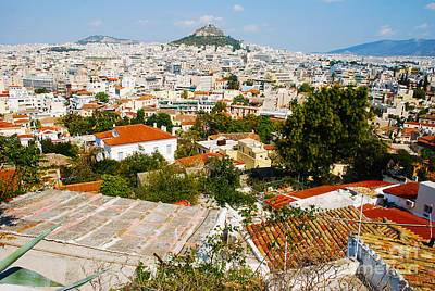 Greek Photograph - View Of Athens Greece And Mount Lycabettus by Just Eclectic