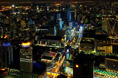 Photograph - View Of Bangkok At Night by Fabrizio Troiani