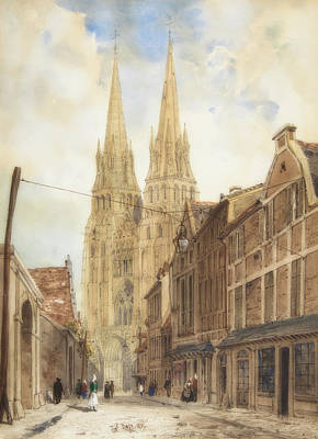 Painting - View Of Bayeux by Thomas Boys