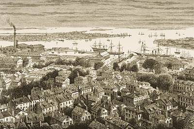 Bunker Hill Drawing - View Of Boston Massachusetts From by Vintage Design Pics