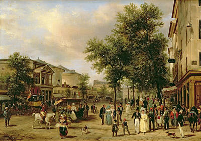 1830 Painting - View Of Boulevard Montmartre by Guiseppe Canella