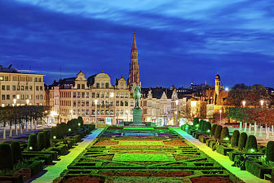 Photograph - View Of Brussels From Jardin Du Mont Des Arts by Barry O Carroll