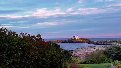 View Of Cape Neddick Light At Sunset - Maine Print by Danielle MacInnes