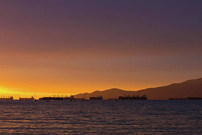 Photograph - View Of Cargo Ships From Sunset Beach Vancouver Bc by David Gn