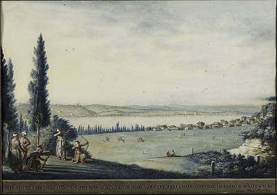 Istanbul Painting - View Of Constantinople And Eyup As Seen From Okmeydani by Luigi Mayer