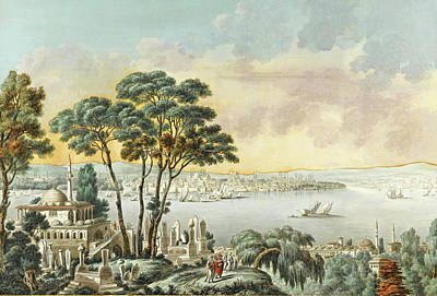 Cassas Drawing - View Of Constantinople From The Marmara Sea by Louis-Francois Cassas
