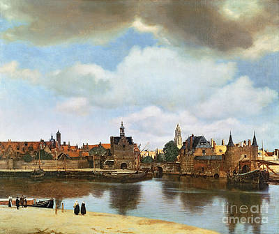 Cloudy Painting - View Of Delft by Jan Vermeer