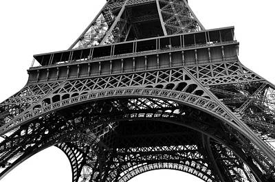 Photograph - View Of Eiffel Tower First Floor Deck Paris France Black And White by Shawn O'Brien