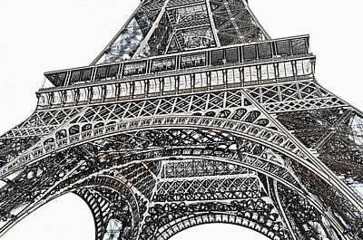 Digital Art - View Of Eiffel Tower First Floor Deck Paris France Colored Pencil Digital Art by Shawn O'Brien