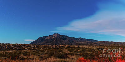 Photograph - View Of El Capitain Reef Bathed By Moonlight - Guadalupe Mountains National Park - West Texas by Silvio Ligutti