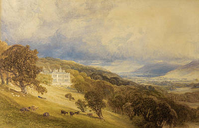 Drawing - View Of Eshton Hall. Yorkshire by Anthony Vandyke Copley Fielding