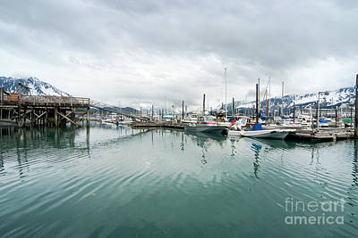 Boat Photograph - View Of Fishing Boats Moored At The Port Of Seward  by Dani Prints and Images