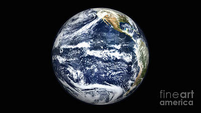 Terrestrial Sphere Photograph - View Of Full Earth Centered by Stocktrek Images