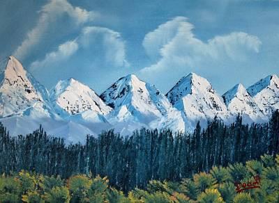 Himalaya Painting - View Of Himalayan Rangaes From Nainital, India by Dipali Deshpande