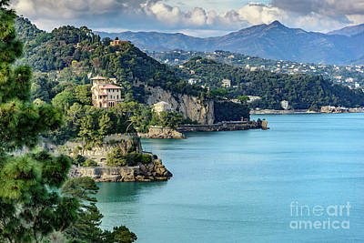 Portofino Photograph - View Of Italian Riviera From Portofino, Italy by Global Light Photography - Nicole Leffer