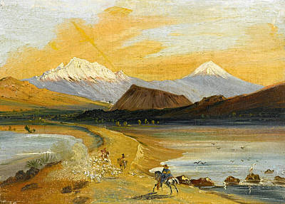 Puebla Painting - View Of Itztaccihuatl And  Popocatepetl Seen From The Valley Of Mexico by Johann Moritz Rugendas