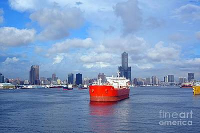 Photograph - View Of Kaohsiung Port With Large Oil Tanker by Yali Shi