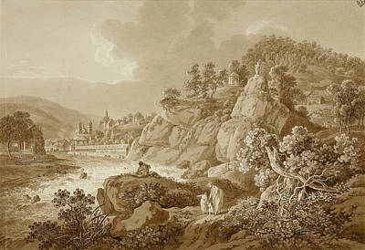 Drawing - View Of Karlsbad In The Foreground A Young Mother With Her Children by Adrian Zingg