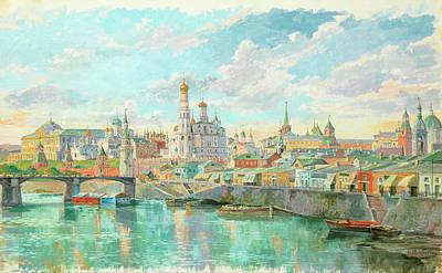 Putin Painting - View Of Kremlin And Bolshoy Moskvoretsky Bridge In Spring by Nikolai Sergeevich Matveev