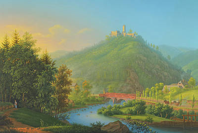 Painting - View Of Kynsburg Over The Weistritz River Valley In Selisia by Johann Bleuler