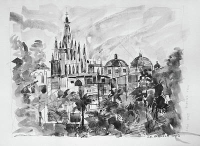 Miguel Drawings Drawing - View Of La Parroquia From The Instituto Courtyard by Jack Hannula