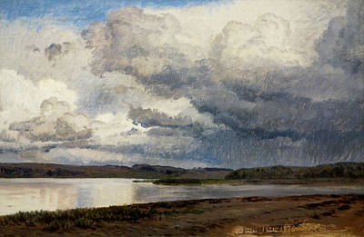 Painting - View Of Lake Julso, Denmark by Janus la Cour